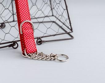 Cupid's Tiny Hearts Dog Collar - Unisex Dog Collar - Martingale Chain Dog Collar - Dog Collar - Check Chain Collar - Metal buckle