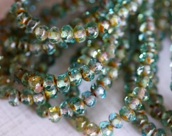 3x5mm Faceted Donuts - Fire Polished Rondelle - Light Aqua Picasso - Czech Glass Beads - Bead Soup