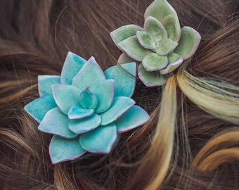 Succulent Hair pins Rustic Wedding Hair Pins Bridal Hairpins Boho Wedding Succulent Hairpins Bridesmaids hair green blue plant bobby pins