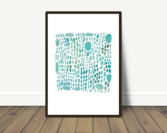 Sea glass art, abstract  Watercolor print, turquoise Sea Glass painting, coastal painting
