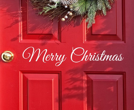 Merry Christmas Quote Wall Art Decal: Merry Christmas Decal Door Decor Wall Decal Word Merry