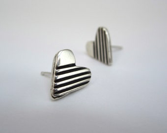 Stripe Heart Post Earrings - Tiny Sterling Silver Studs - Hearts with Stripe Design