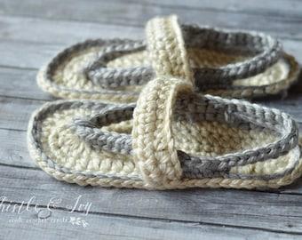 CROCHET PATTERN: Chunky Flip-Flops Slippers Crochet Pattern pdf DOWNLOAD