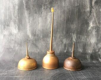 Vintage Oil Cans, tins, copper silver color, singer