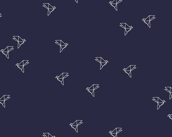 Bye Bye Birdie Navy - Tissu Atelier Brunette
