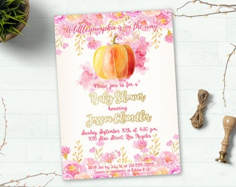 Fall Baby Shower Invitation, Little Pumpkin Baby shower Invitation, Autumn Baby Shower Invitation Printable, Baby Girl Shower Invitation