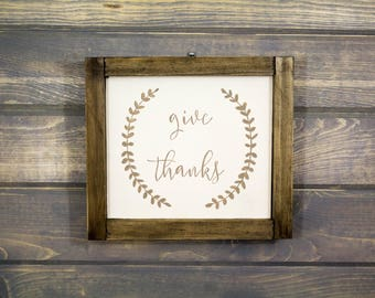 Small Framed Give Thanks with Laurel Wreath Sign