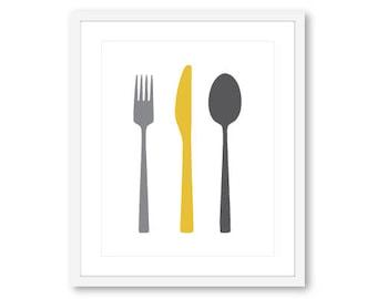 Art mural de cuisine - cuisine - fourchette couteau cuillère Print - couverts impression - décor de cuisine moderne - cuisine Print - Custom color