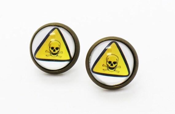 poison warning signs earrings warning sign earrings hazard