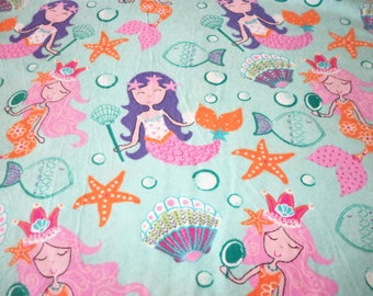 Mermaids Fabric Flannel Blue Background Colorful Sea Creatures fabricnmore Fabric New By The Fat Quarter