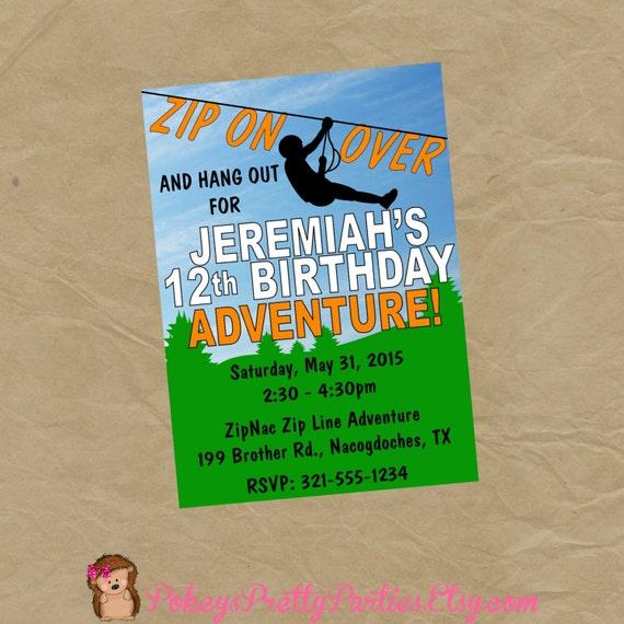 Zipline birthday party invitation invite zip line adventure like this item stopboris Gallery