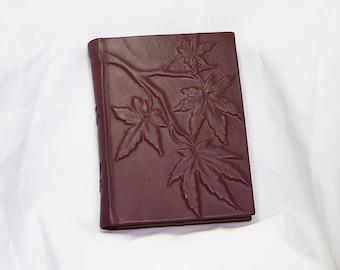 Large leather bound journal handmade blank book Japanese Maple