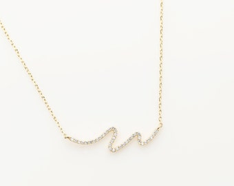 "7001 / Cubic Wave Necklace / 30.5mm x 8mm, 16"" + 2"" Chain"