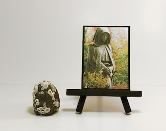 Monk statue ACEO. Altered photo of a hooded monk figure in a garden. Magnet or easel option.