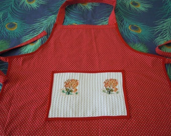 embroidered white dot red cotton apron