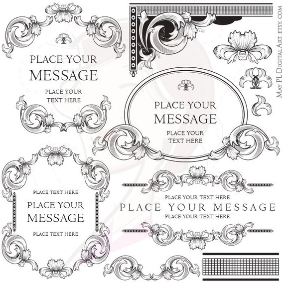 Formal Wedding and Business Logo Baroque Frame Clipart