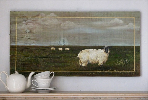 Sheep in the field original acrylic painting on reclaimed rustic solid wood board