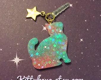 Galaxy Cat Phone Charm, glitter resin dust plug, gold star