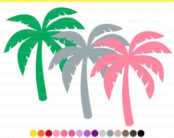 Palm Tree, Digital Palm Tree Clipart, Multiple Colors, 30 Colors, Instant Download PNG