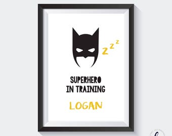 Boys bedroom A4 Print - BATMAN - Superhero in training - personalised
