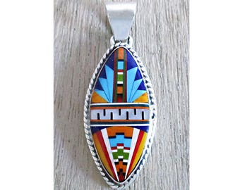 Amazing Inlay Sterling Silver Pendant