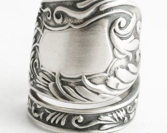 Silver Swirl Ring, Organic Ring, Sterling Silver Spoon Ring, Victorian Ring, Ornate Fancy Ring, Rare Knowles Silver, Adjustable Ring (6583)