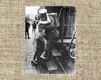 Vintage photograph, black and white photo print, A British Tommie Bestows A Last Kiss As His Detachment Evacuates Germany. September 1929