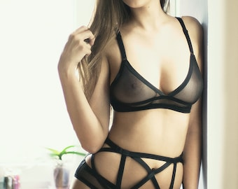 Sheer Bra, Sheer Bralette, Erotic Bra, See Through Bralette, Mesh Bra, Womens Intimates, Women Bra, Triangle Bra, Soft Cup Bra, Gift Idea