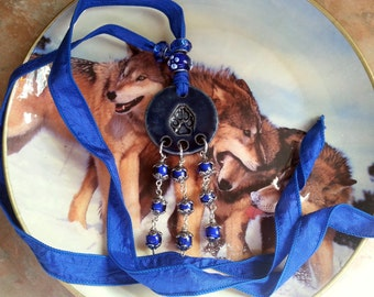 Beautiful Ceramic Wolf Paw Print Necklace on Silk Ribbon