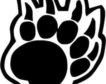 "Bear Claw Paw Print - Vinyl Decal Sticker - 3.33"" x 3.75"" - 24 Colors - [#0092]"