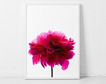 Hot Pink Flower, Print Hot Pink Art, Abstract Flower Art, Hot Pink Peony, Printable Pink Art Pink Peony Flower Hot Pink Art Instant Download