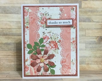 Handmade greeting card, thank you card, occasion card, red, pink, floral design, flower