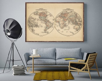 """World Map, Vintage 1862 hemispheres world map reprint - home decor -4 large/XL sizes up to 54""""x36""""-in two colors"""