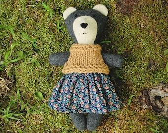 Emma Bear, baby bear, little handmade heirloom soft toy, stuffed animal, bear toy, bear stuffed animal, teddy bear
