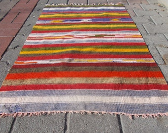Vintage Turkish Anatolian a handwoven Nomadc  kilim Rug Wool On Wool Home Decor.30.3'' X 43.7'' inches or 77 X 111cm