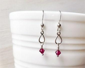 Ruby red Swarovski crystal and Argentium Silver tear drop dangle earrings, July birthstone earrings, ruby red  bridesmaid earrings