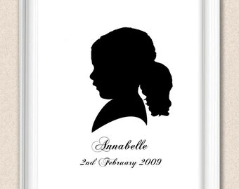 Silhouette Portrait Personalized Child Silhouette Portrait Custom Colour and Custom Text A063