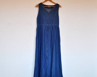 Vintage Denim Sleeveless Button Down Empire Waist Maxi Dress