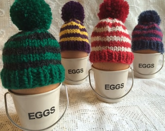 Stripey Bobble Hat Knitted Egg Cosy (One)