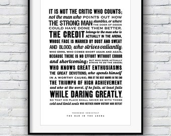 Theodore Roosevelt, The Man in the Arena, Quote poster, Typographic print, American history, Teddy Roosevelt speech