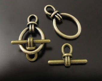 Toggle clasp, brass, 14 * 10 mm, set of 10