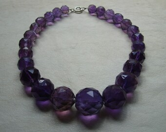 Huge Faceted Amethyst Necklace with Sterling Silver Spring Clasp