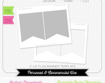 5 x 6 Pendant Bunting Flag Banner Template - INSTANT DOWNLOAD - PRINTABLE - Make your own party printables