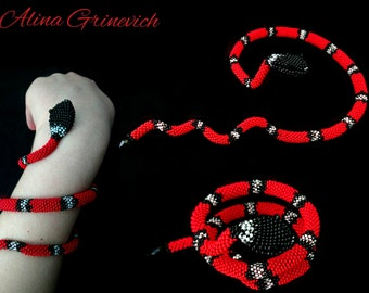 Red snake Snake bracelet Beaded jewelry Coral snake Crochet bracelet Red bracelet Snake beads Beautiful gift Snake Handmade Exclusive Gift