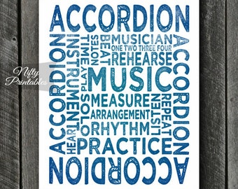 Accordion Art - INSTANT DOWNLOAD Accordion Print - Accordion Player - Accordion Poster - Accordion Gifts - Music Gifts - Accordion Wall Art