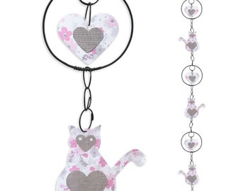 Wire - coloured Garland - pink - cat wall hanging