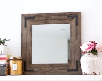 Mirror, Wall Mirror, Bathroom Mirror, Rustic Wood Mirror, Wood Frame Mirror, Modern Mirror, Vanity Mirror, Small Mirror