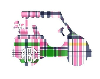 Adhesive Monogram Golf Cart Decal Sticker - Camden Madras, Decal For Car, Decal For Laptop, Golf Sticker, Monogram Sticker, Monogram Decal