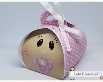 "PRINTABLE Curvy keepsake gift BOX ""Baby girl"" DIY (treat box) gift idea for baby shower"