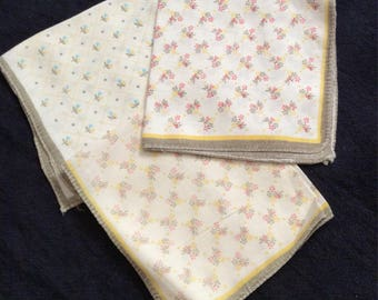 Set of 3 Vintage Floral Handkerchiefs